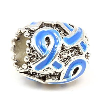 Blue Multi Ribbon Awareness Charm Fits Pandora Style Bracelets: Jewelry