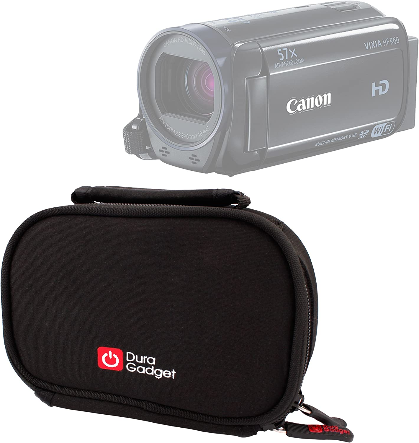 DURAGADGET Shock-Absorbing & Ultra-Portable Neoprene Camcorder Case in Black for The New Canon VIXIA HF R60 / VIXIA HF R62 / VIXIA HF R600