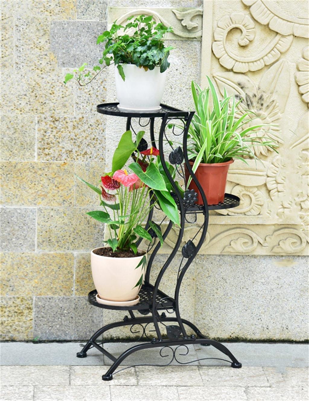 LB Europäischer kreativer dreistöckiger Eisen-Fußboden-Blumen-Topf-Regal, Zahnstangen, hängend Orchidee-Blumen-Topf-Halter für Innen-, Balkon Montage Blumentopf Regal ( farbe : Schwarz )