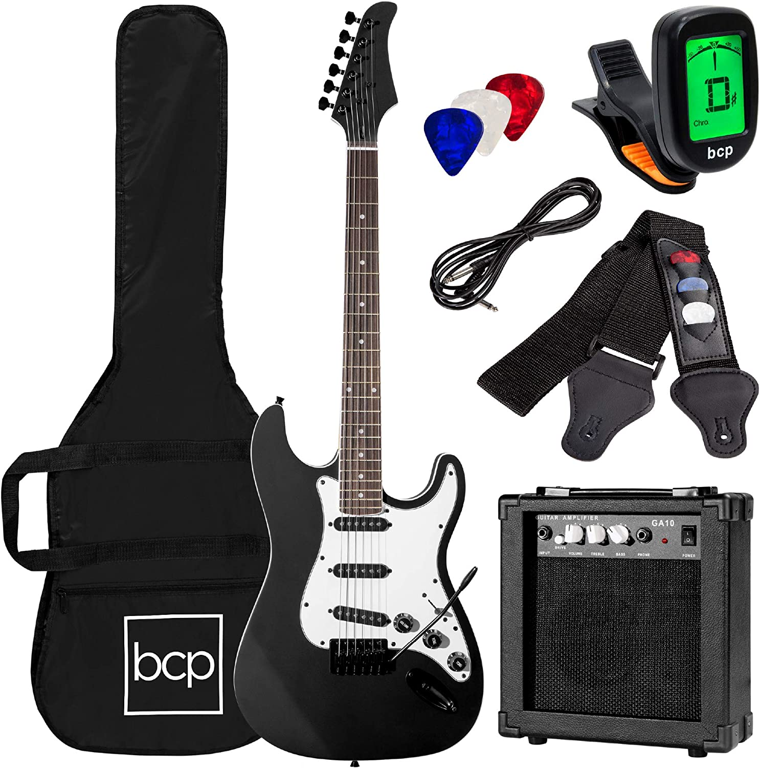 best beginner electric guitar   Full-Size Black Electric Guitar with Amp, Case and Accessories Pack Beginner Starter Package