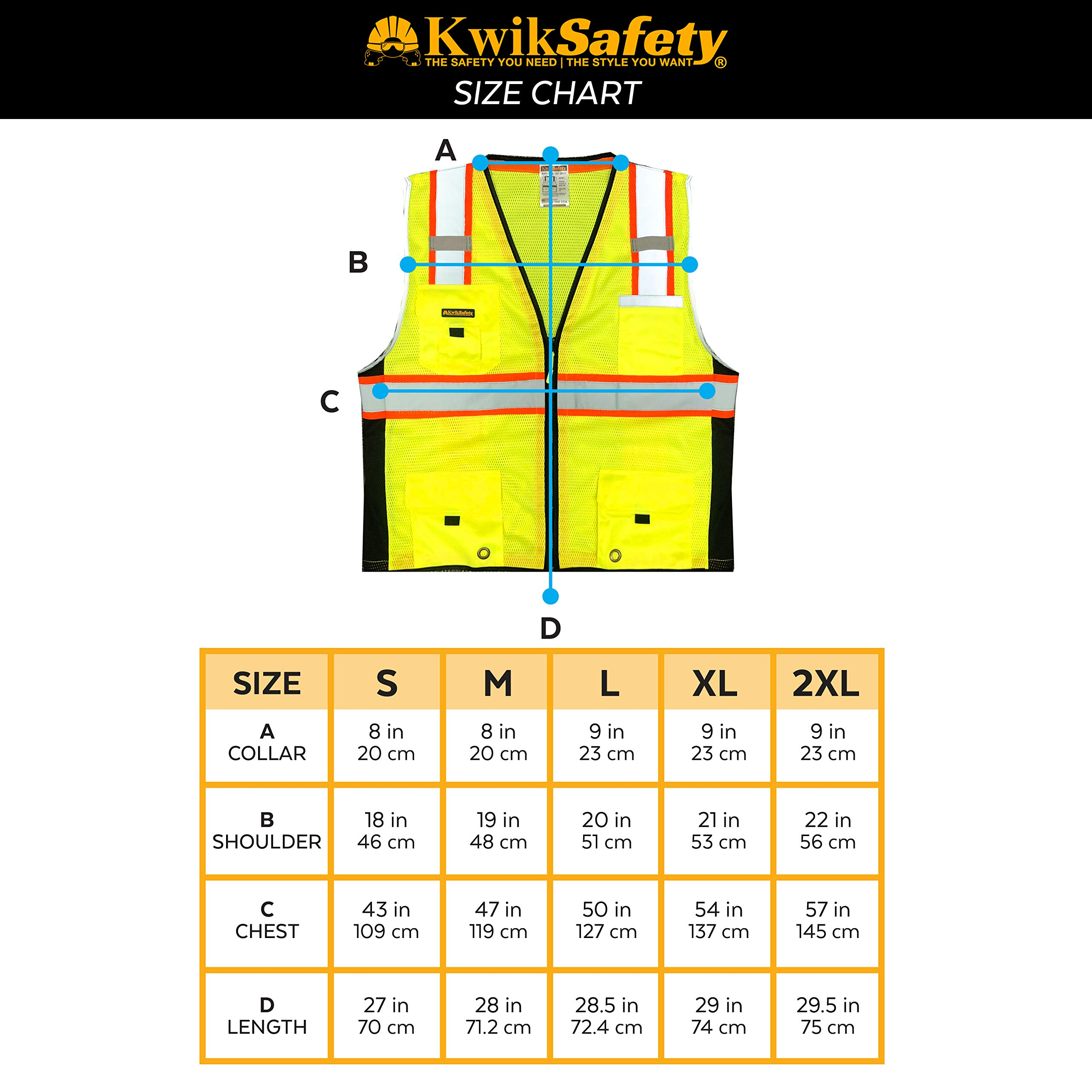 KwikSafety (Charlotte, NC) BIG KAHUNA (11 Pockets) Class 2 ANSI High Visibility Reflective Safety Vest Heavy Duty Mesh with Zipper and HiVis for OSHA Construction Work HiViz Men Yellow Black Small by KwikSafety (Image #7)