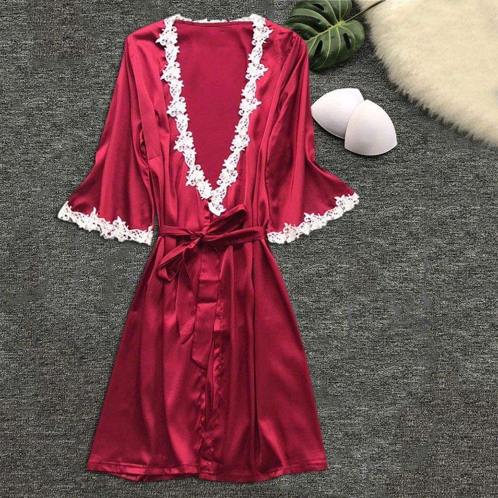 Womens Elegant Silk Satin Sleepwear Kimono Robe Pajamas Deep V Temptation Lingerie High Waist Bathrobes Night Dress at Amazon Womens Clothing store: