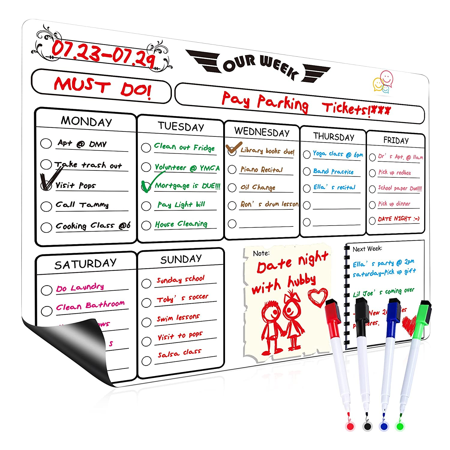 Wet/Dry Erase Fridge Magnet Weekly Calendar Whiteboard Planner, FaayFian To Do List with 4 Magnetic Dry Erase Markers, Never Stain, Grocery Shopping List, Memo for Family, Office ,School