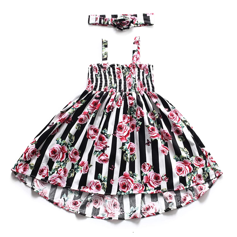 94606af7c8 Flofallzique Floral Girls Dress Striped Halter Sundress for Kids with  Headband