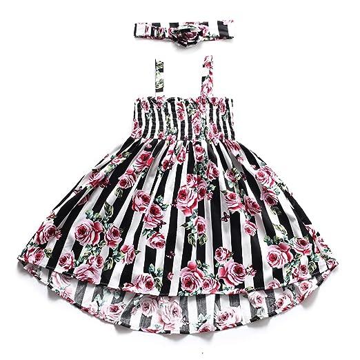 a11d5e10a5 Flofallzique Floral Girls Dress Striped Halter Sundress for Kids with  Headband