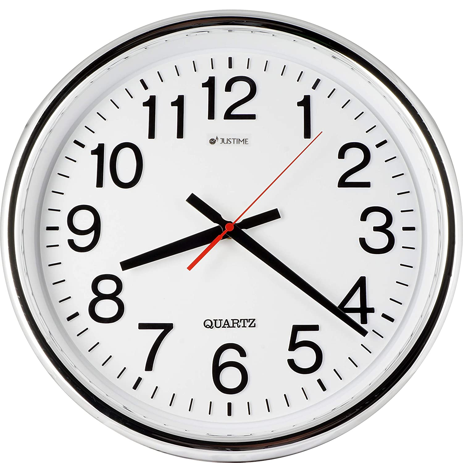 ISHIWA 16-inch Large Easy to Read 3D Numerals Quartz Wall Clock Quiet Non-ticking Movement, Office, Home Decor, Classroom (W01411 Chrome)