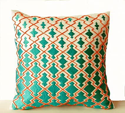 Amazoncom Amore Beaute Throw Pillow Covers Teal Orange