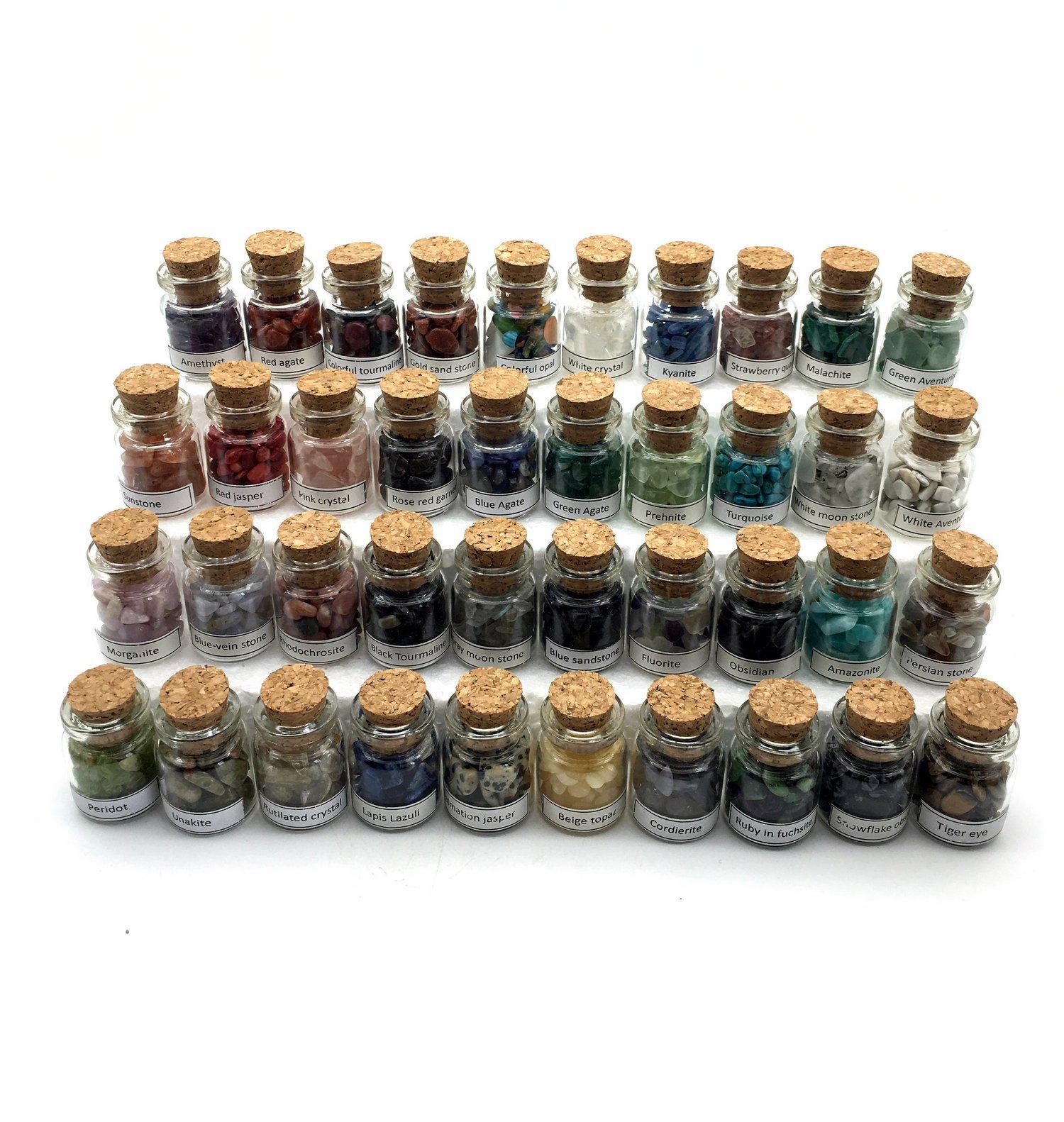 Shangbo 40Mini Gemstone Bottles Tumbled Stones Healing Crystal Reiki Crystal Wishing Bottle Gift. by Shangbo