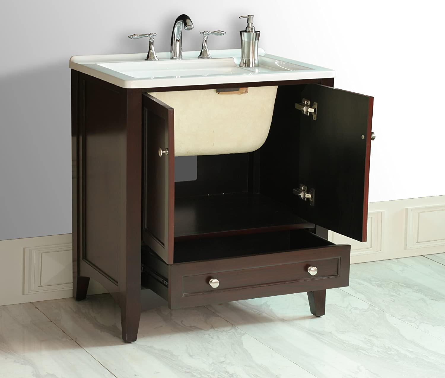 Stufurhome GM Y01 30 5 Inch Manhattan Single Laundry Vanity in Dark  Expresso Finish with Acrylic Sink   Bathroom Vanities   Amazon comStufurhome GM Y01 30 5 Inch Manhattan Single Laundry Vanity in  . 30 Bathroom Vanity With Top. Home Design Ideas