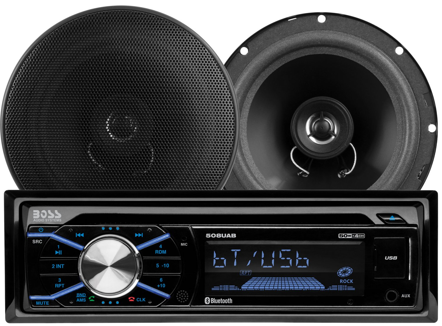BOSS Audio 656BCK Car Stereo Package - Single Din, Bluetooth, CD/MP3/USB AM/FM Radio, 6.5'' 2 Way Full Range Speakers