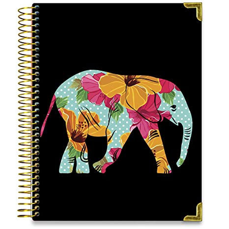 Floral Elephant Planner May 2019-June 2020 8.5 x 11 Hardcover by Tools4Wisdom