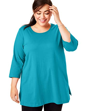 e74c0d8af55 Woman Within Women's Plus Size Perfect Scoop Neck Three-Quarter Sleeve Tunic