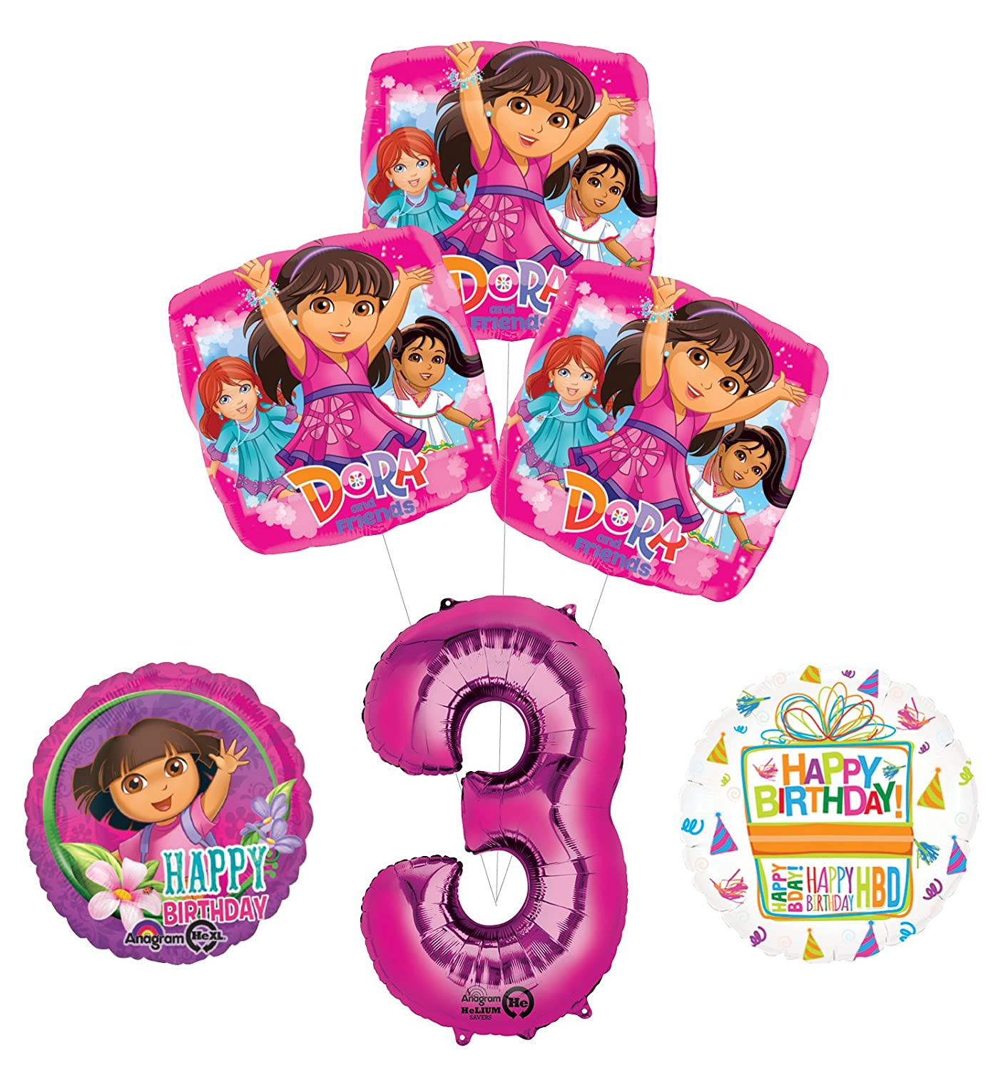 Dora the Explorer 3rd Birthday Party Supplies and Balloon Bouquet Decorations Mayflower