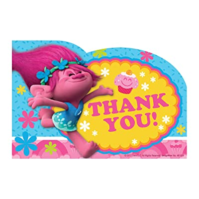 amscan Trolls The Movie Thank You Notes 8 Piece Birthday Party Supplies: Toys & Games