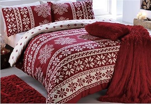 Single Red Snowflake Duvet Cover Set A bold fairisle Flannelette ...