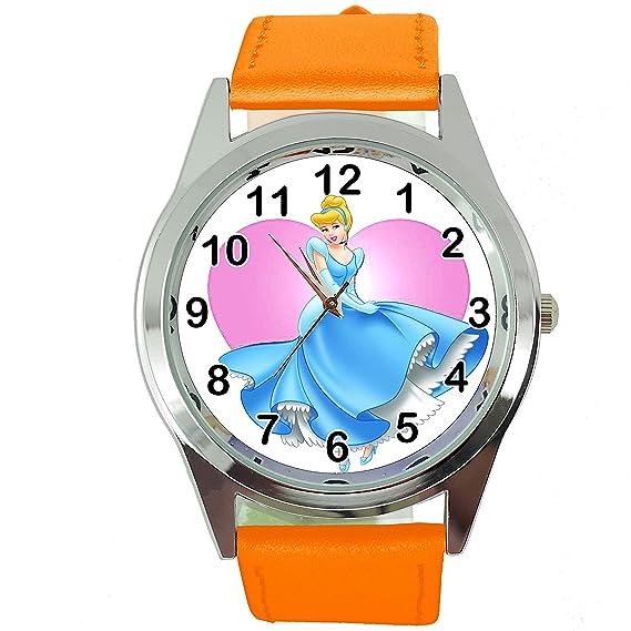 De Correa CueroAmazon Taport® Reloj Cenicienta Cuarzo Naranja wP8OkX0n