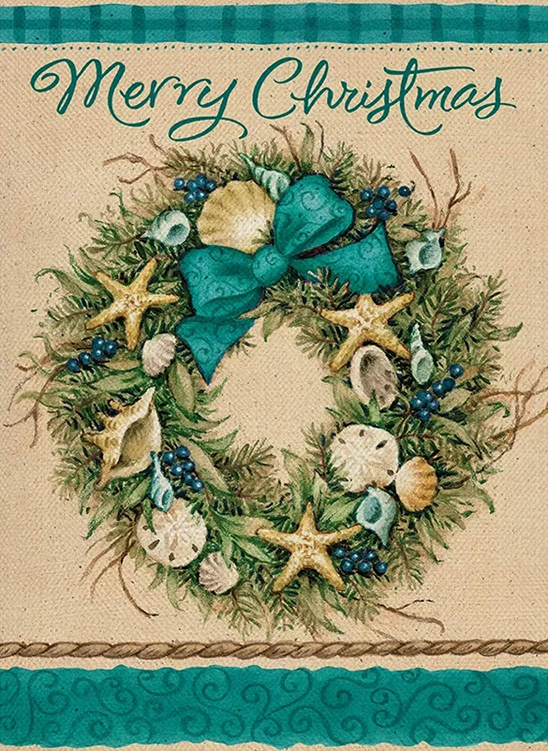 Furiaz Merry Christmas Coastal Garden Flag, White Xmas Winter Home Decorative House Yard Outside Small Flag Seashell Starfish Wreath Beach Decor, Farmhouse Holiday Outdoor Seasonal Decoration 12 x 18