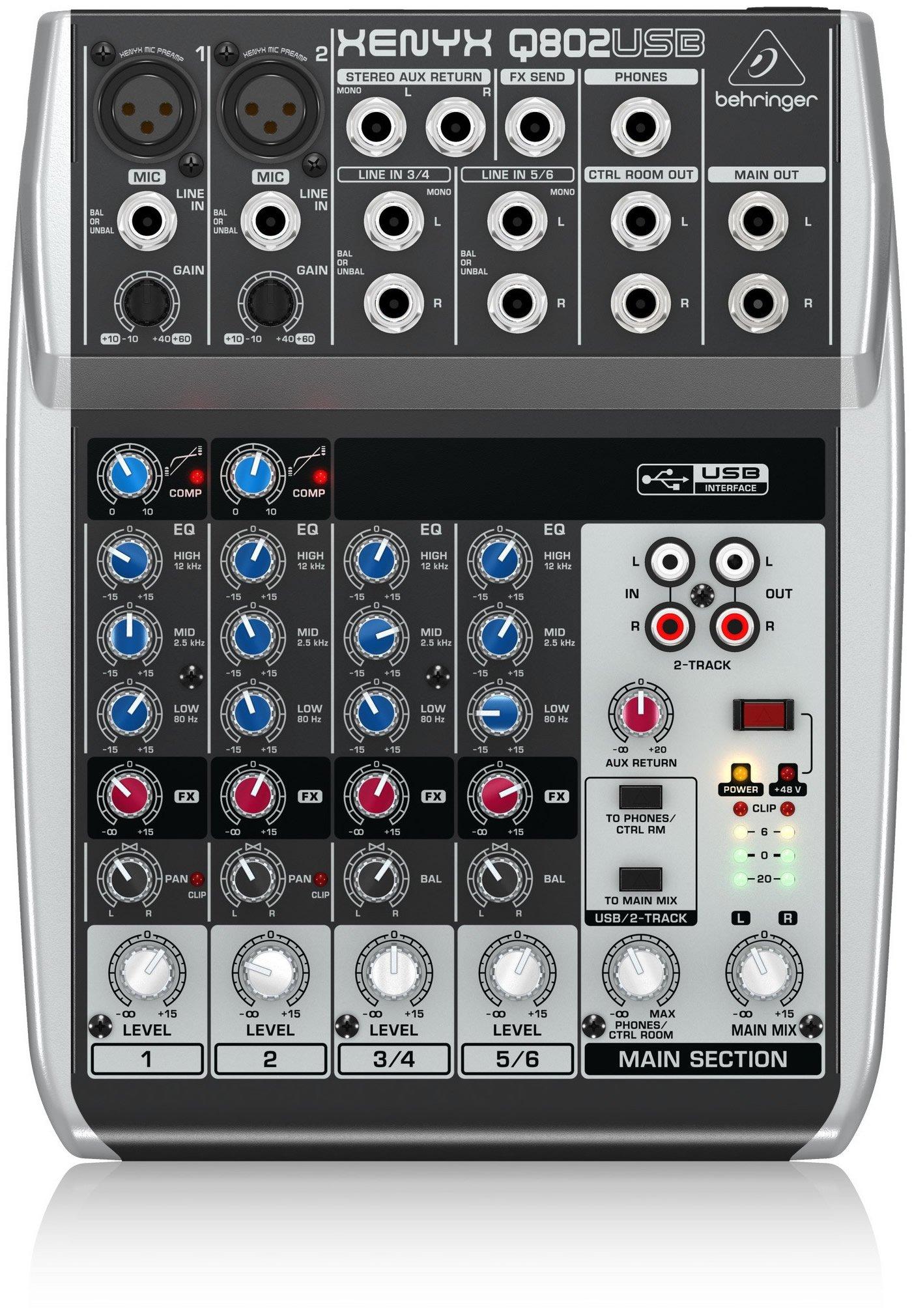 Behringer Q802USB | 8 Input 2 Bus Mixer
