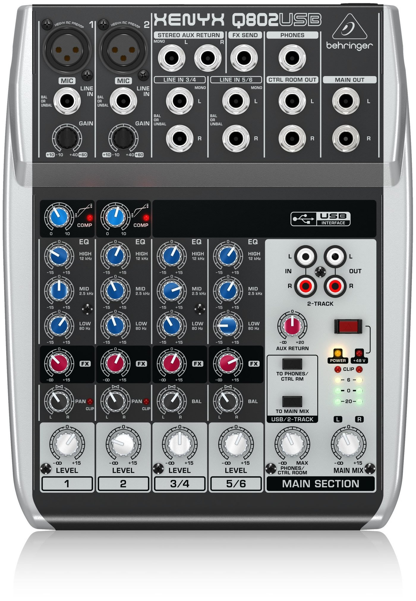 Behringer Q802USB | 8 Input 2 Bus Mixer by Behringer
