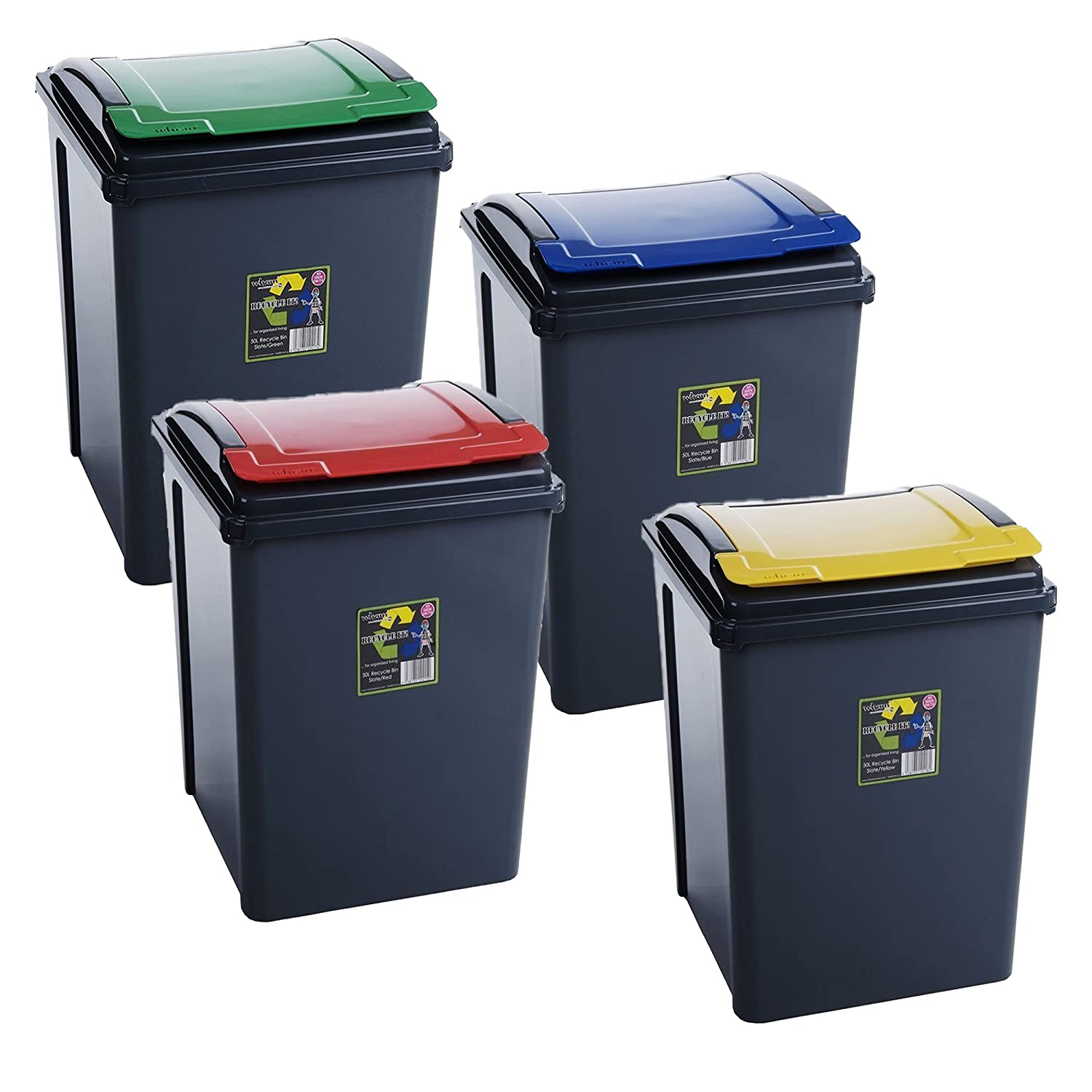 Blue 25 Litre Plastic Waste Bin High Quality with Flap Lid by Wham Home In Style 5038135124112