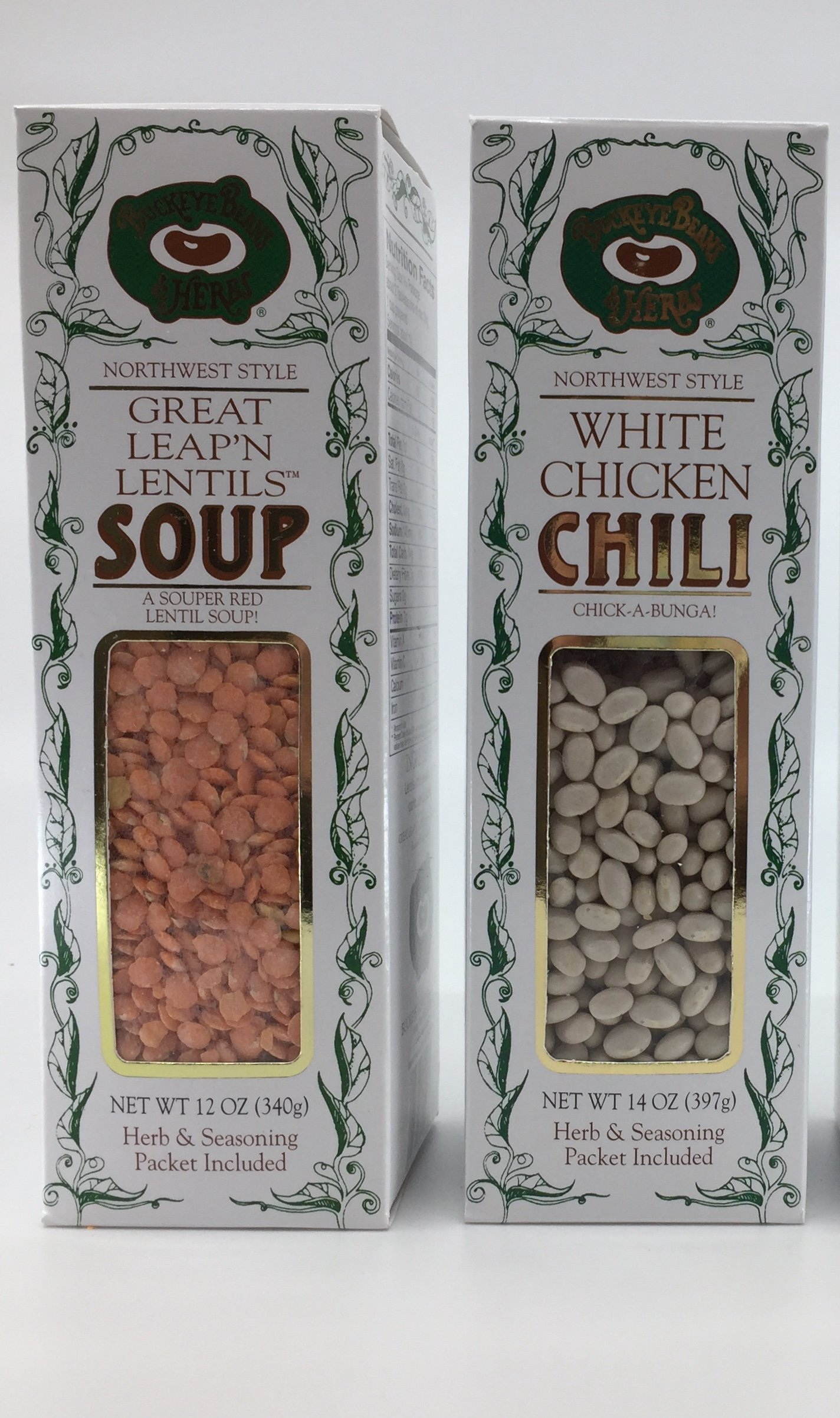 Buckeye Beans & Herbs Soup and Chili Variety of 3: Great Leap'n Lentil, Country Split Pea Soup and White Chicken Chili –12-14-14 Ounces Each (3 Items) by Buckeye Beans & Herbs customs