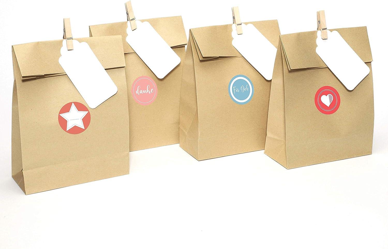 Plantvibes ® 24 Bolsas de papel kraft marrón de alta calidad con tarjetas y pinzas de madera