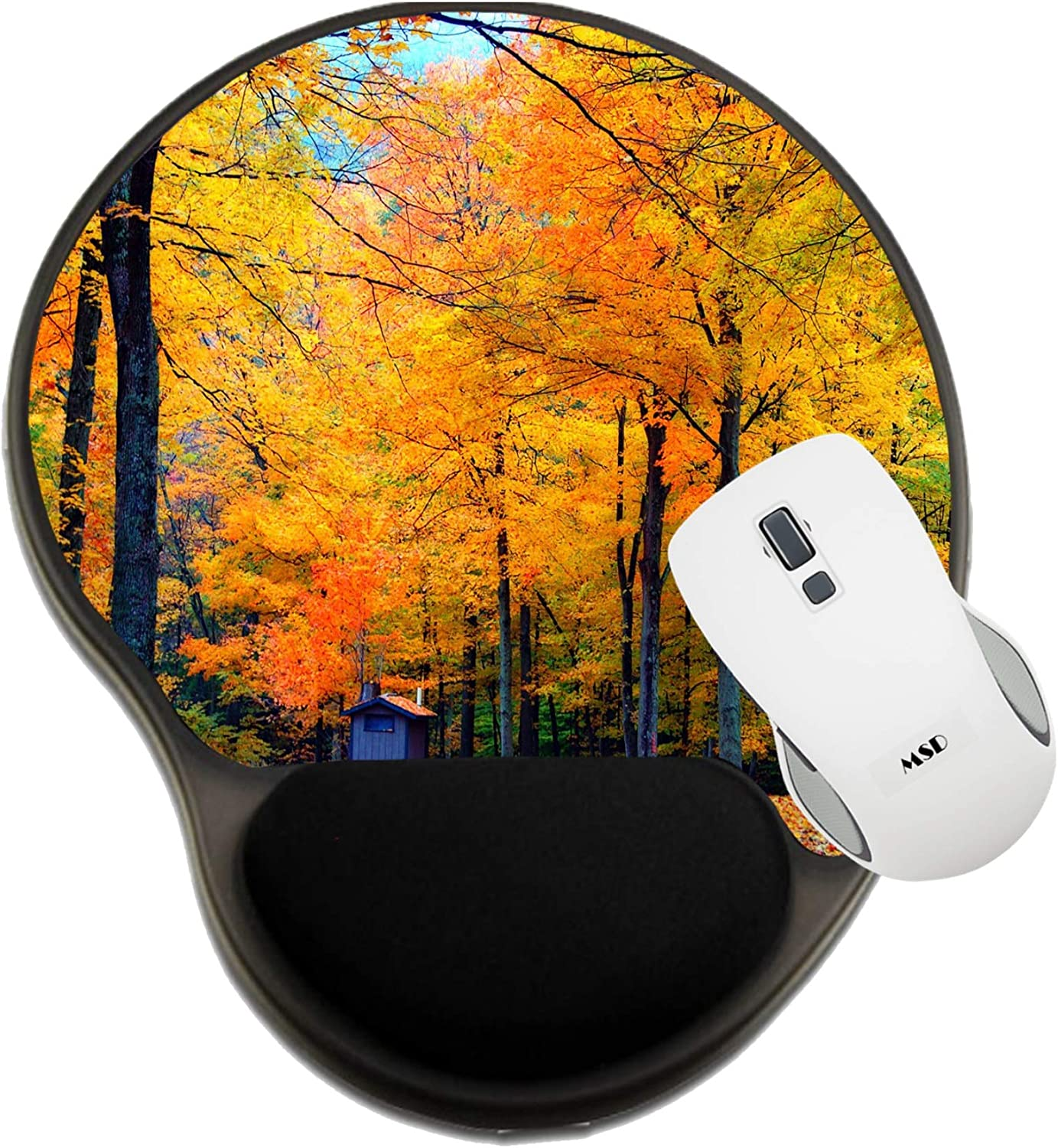Fall Foliage Backdrop Photo 602737 MSD Mousepad Wrist Rest Protected Mouse Pads Mat with Wrist Support