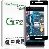 Google Pixel 2 Screen Protector Glass, amFilm Full Cover Tempered Glass Screen Protector with Dot Matrix for Google Pixel 2 (Black)