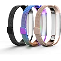 Tecson Metal Bands Compatible Fitbit Alta and Alta HR and Ace (Pack of 3), Stainless Steel Milanese Loop Replacement Strap with Magnet Lock for Fitbit Alta HR and Alta and Ace