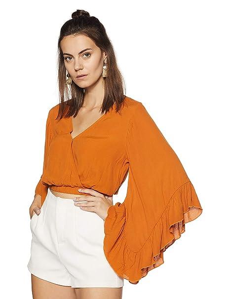 4bd30ed153 Forever 21 Women s Plain Slim Fit Shirt  Amazon.in  Clothing ...