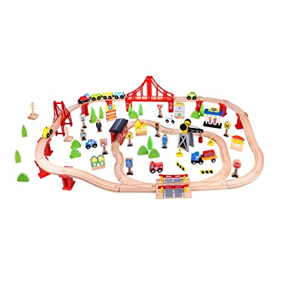 Fat Brain Toys Wooden Express 100 Piece Train Set Imaginative Play for Ages 3 to 4: Toys & Games [5Bkhe1405403]