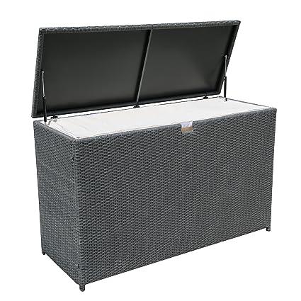 PATIOROMA Outdoor Patio Aluminum Frame Wicker Cushion Storage Bin Deck Box,  Gray