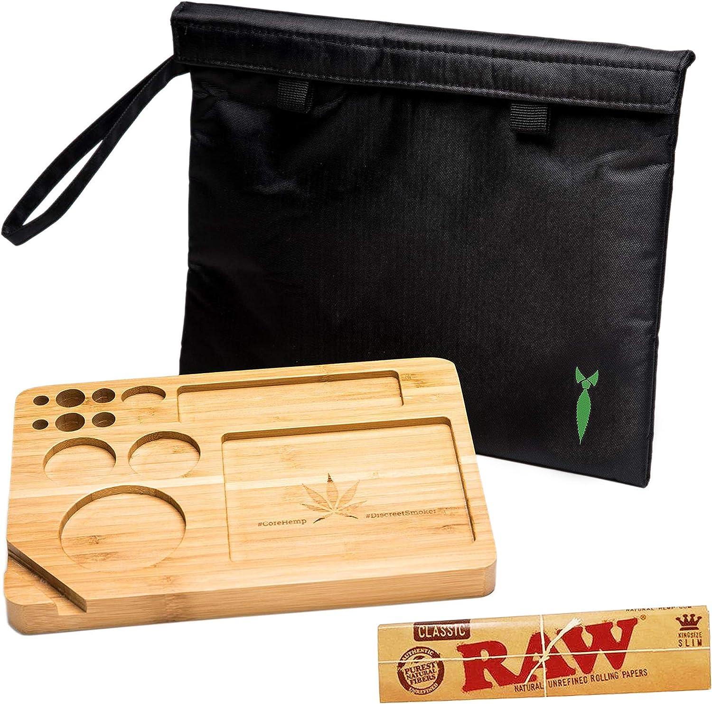 Discreta Bolsa para Fumar a Prueba de olores 11 x 9 con una Bandeja de bambú Natural