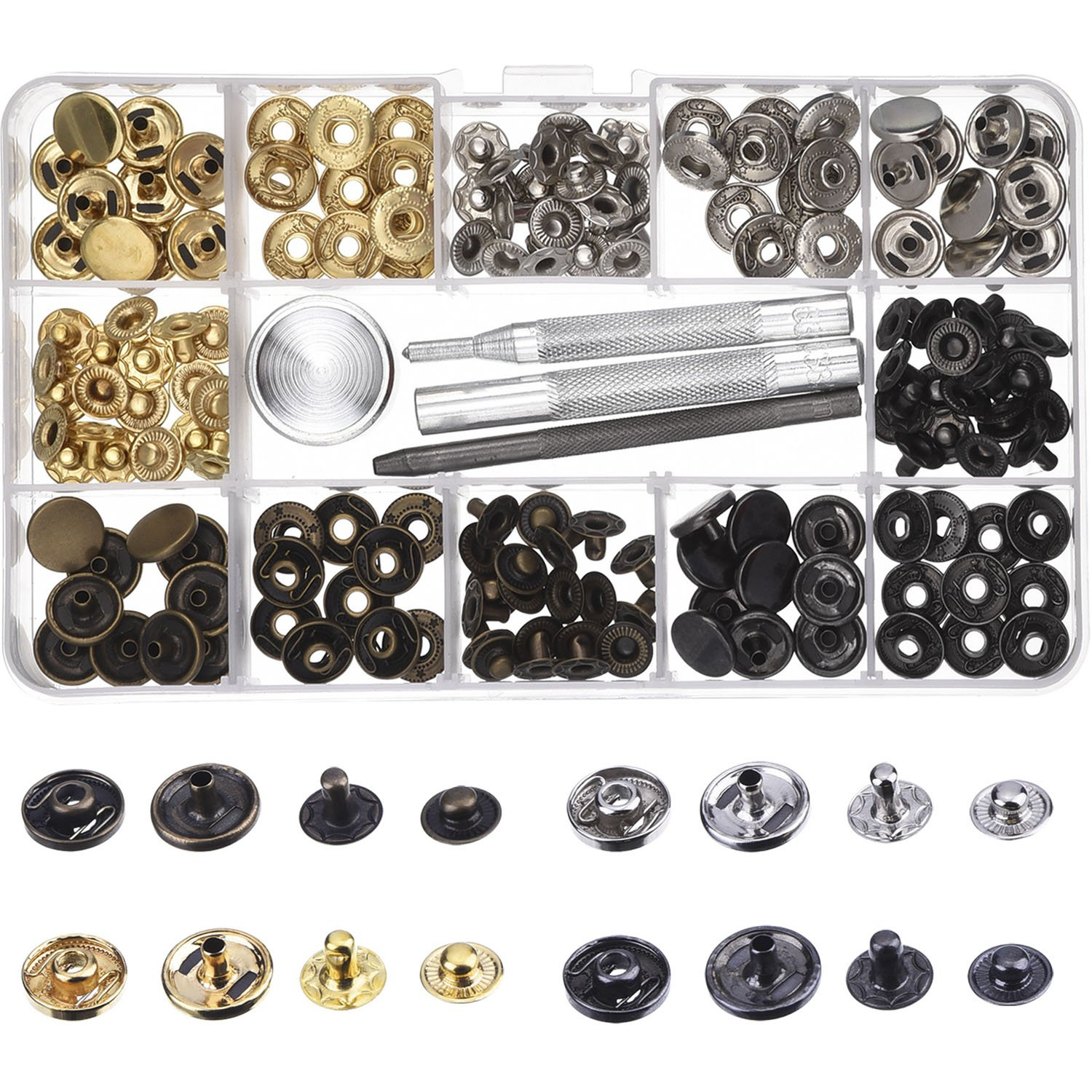 ce2ab1696 Amazon.com  Outus Copper Snap Fasteners Press Studs No Sewing Clothing Snaps  Button 39 Set with Fixing Tool for Fabric