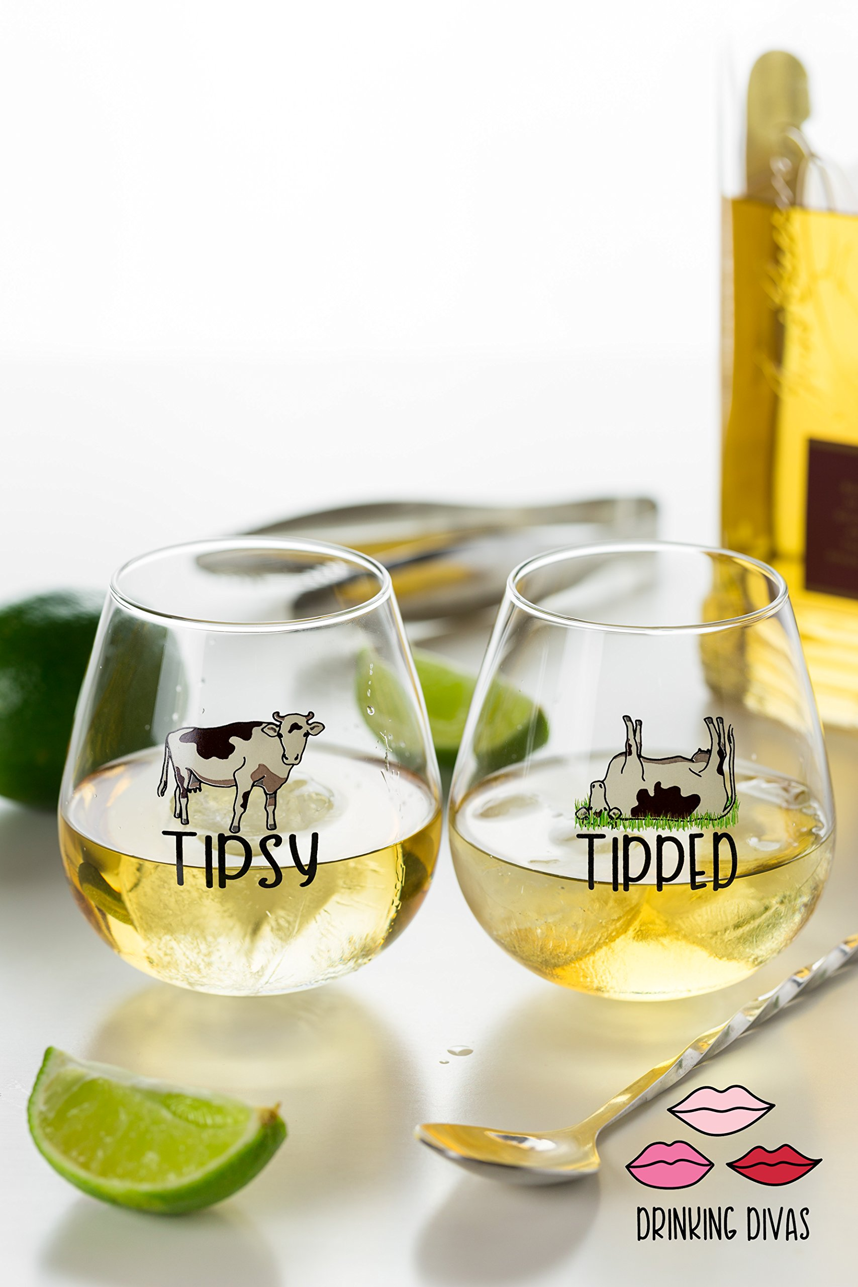 bcfda9ac8b9 Details about Drinking Divas 'Tipsy' and 'Tipped' Wine Glasses - Set of 2  Stemless Rolling
