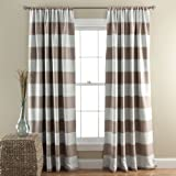 Lush Decor Stripe Room Darkening Window Curtain, 84 by 52-Inch, Taupe