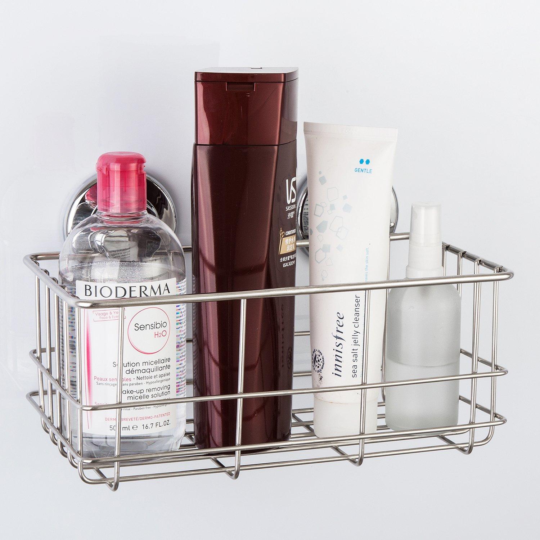 tiefer Korb ARCCI Vakuum-Saugnapf Dusch-Caddy Shampoo Conditioner Halter Regal f/ür Bad und K/üche rostfrei