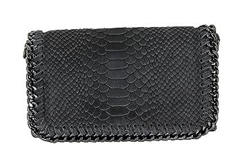 d1eaafb416210 Handtasche Damen Clutch LANI klein Leder mit Kette Abendtasche (Dunkelgrau  Echtleder Reptiloptik)