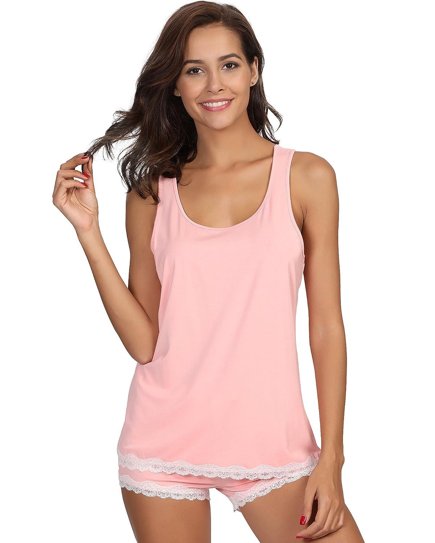 GYS Women's Sleepwear Bamboo Pajama Tank and Shorts Set