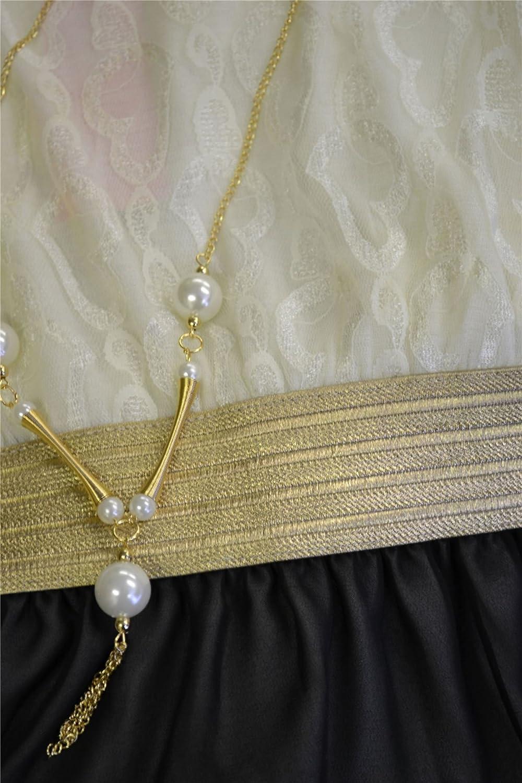 M/ädchen /ärmelloses Taille Band asymmetrisch Chiffon-Kleid mit Halskette