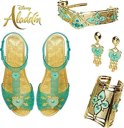 Disney Aladdin Jasmine Sparkly Blue Shoes Princess Girls Costume Accessory