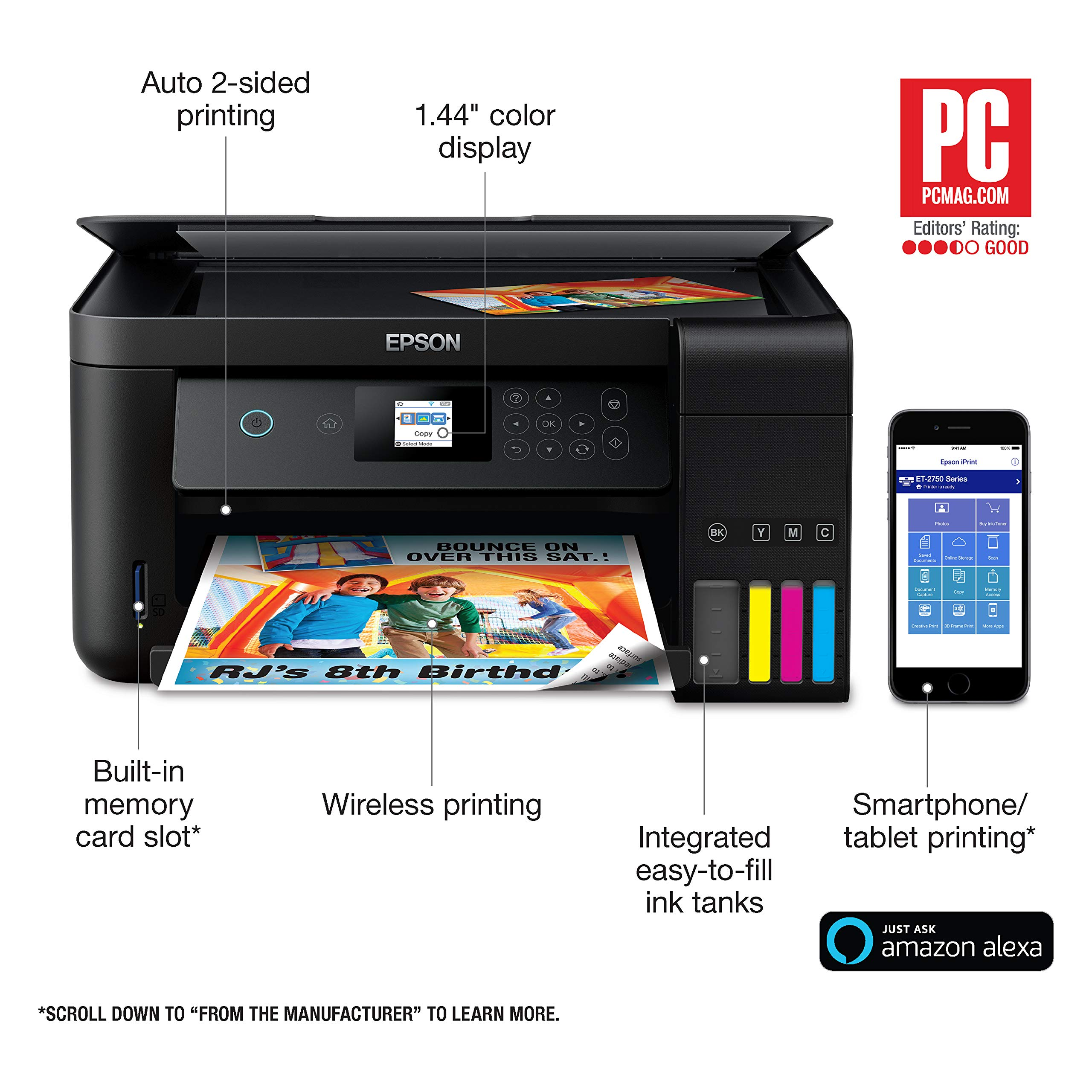 Epson Expression ET-2750 EcoTank Wireless Color All-in-One Supertank Printer with Scanner and Copier (Renewed) by Epson (Image #2)