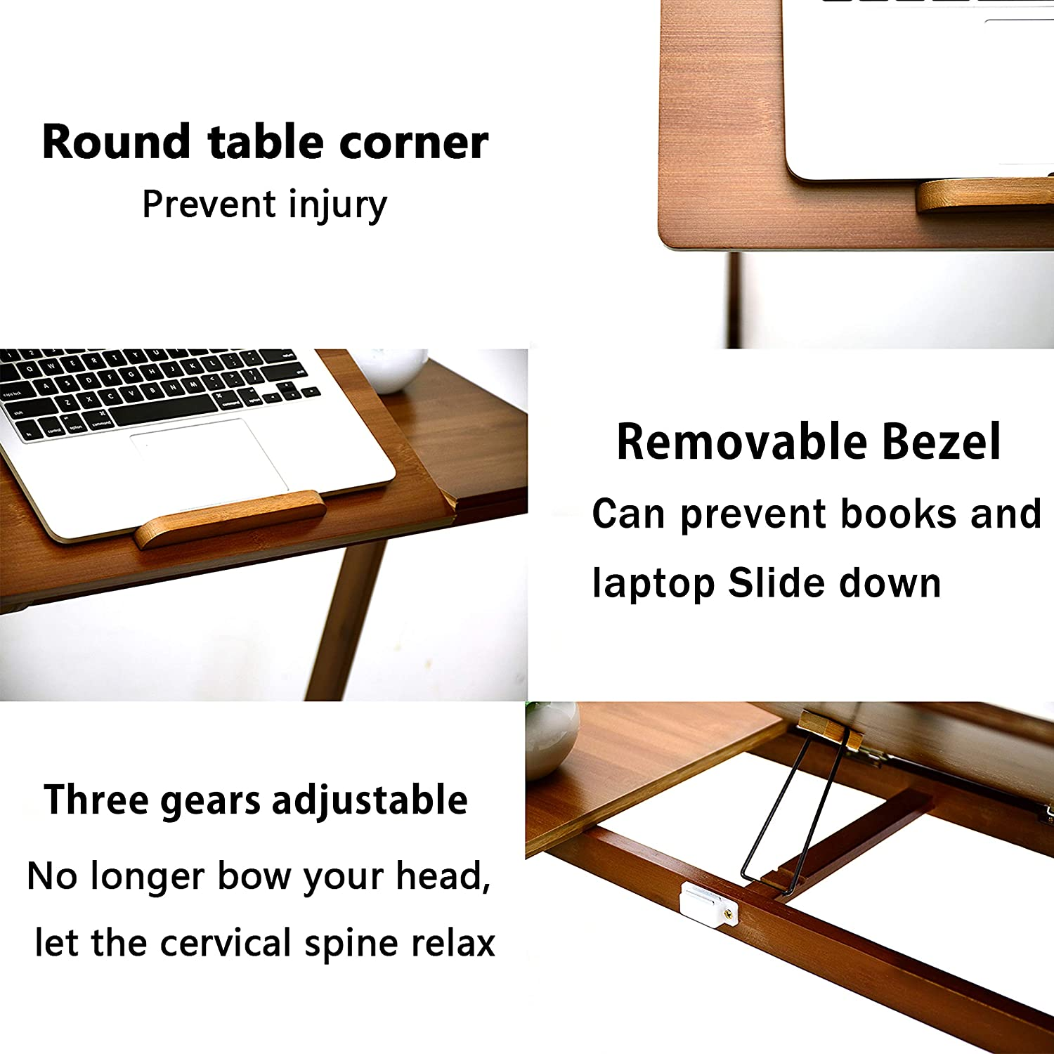 TORIBIO Sofa//Snack//End Table Bamboo Laptop Desk Table for Home Office Eating Writing Reading Living Room Bed Portable Workstation