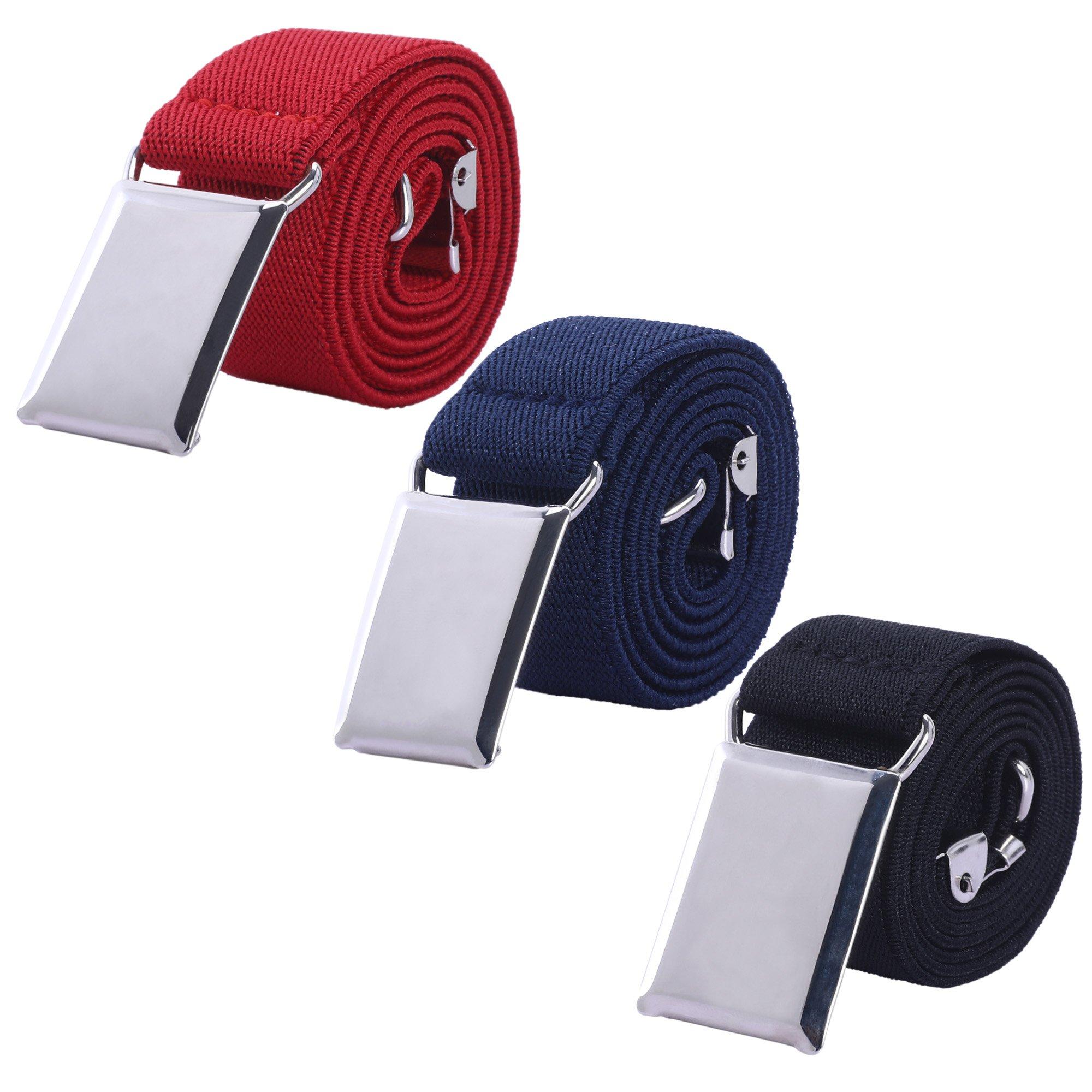 Toddler Boy Kids Buckle Belt - Adjustable Elastic Child Silver Buckle Belts for Girls, 3 Pieces (Red/Navy blue/Black)