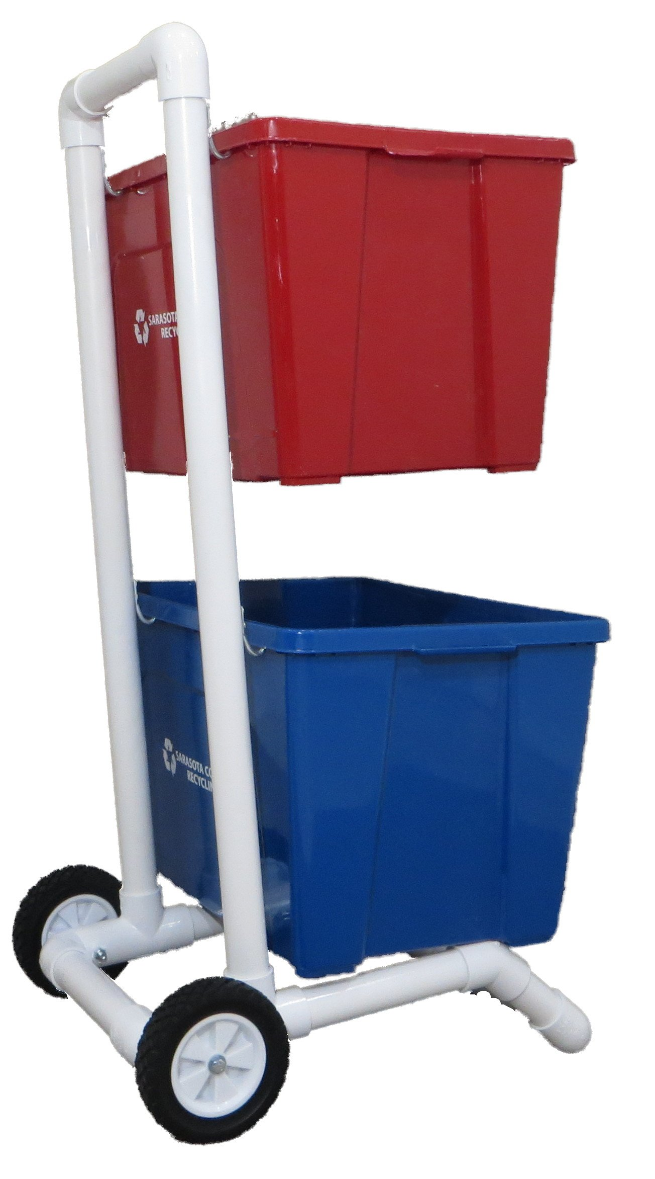 Recycling Cart | 2 Wheels | Lifetime Warranty | 1-1/2'' PVC | No Rust | Heavy Duty