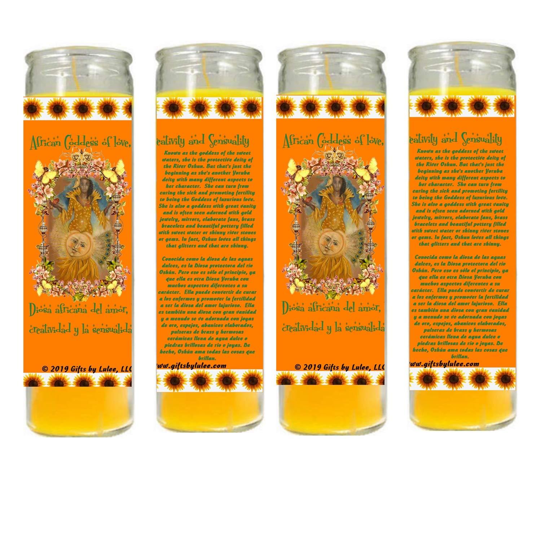 Gifts by Lulee, LLC OSHUN OCHUN Vela Amarilla Santeria Collection Con Imagen a Todo Color Sets De 2 O 4 Velas (4)