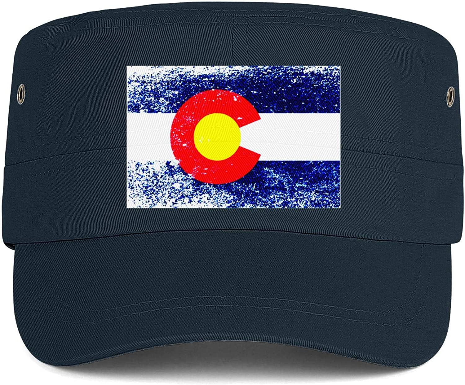 Unisex Military Hat Colon Cancer Awareness Flag Vintage Flat Top Cadet Army Caps