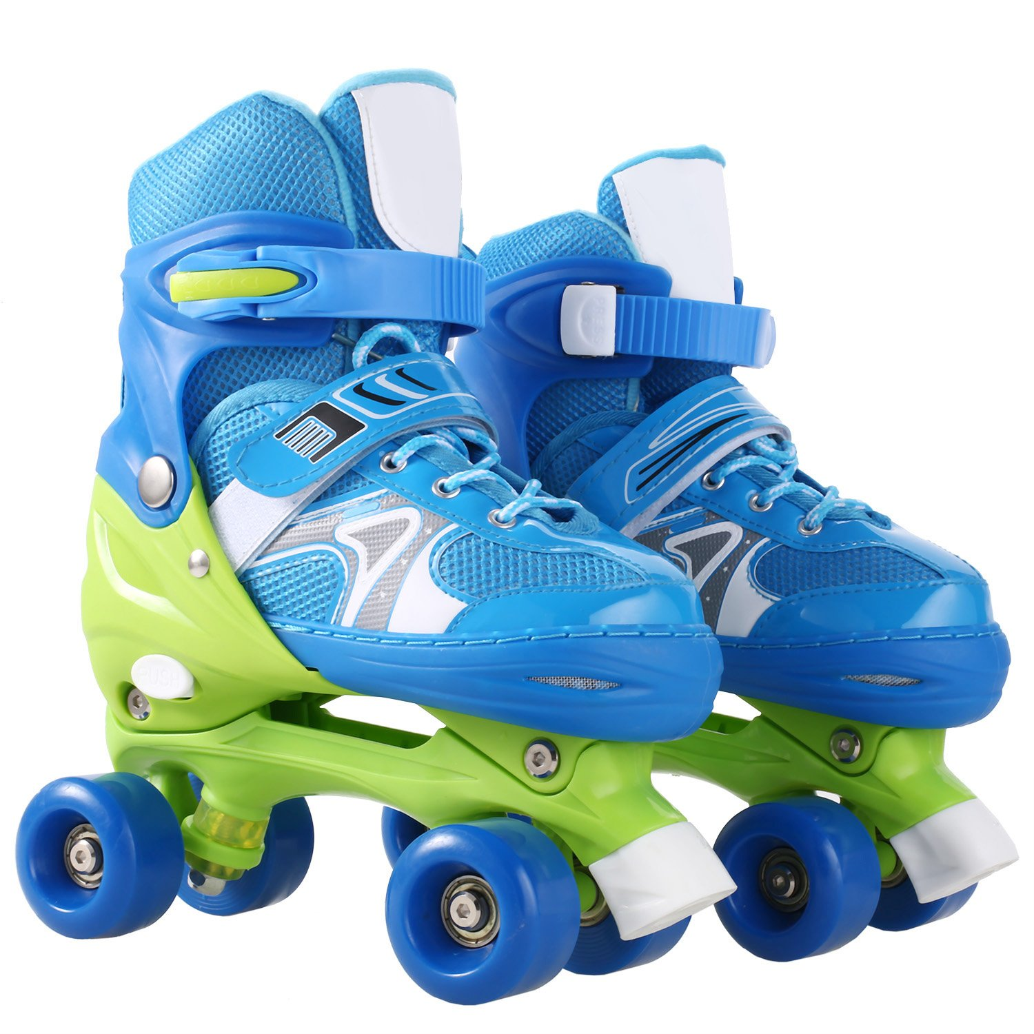 Aceshin Adjustable Artistic Outdoor Toddler Quad Roller Skates for Kids [US Stock] (Blue2, S)