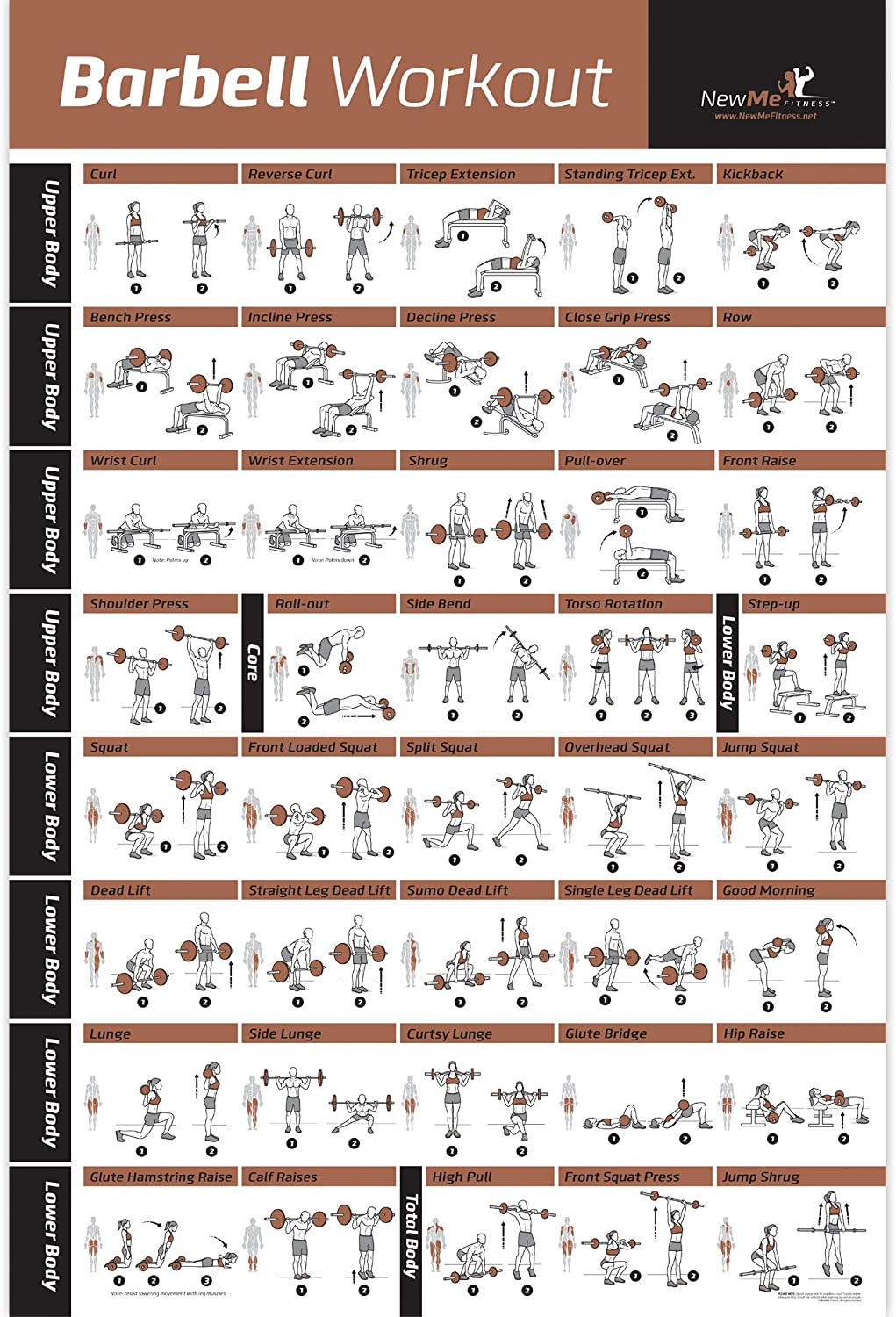 NewMe Fitness Barbell Workout Exercise Poster Laminated - Home Gym Weight Lifting Chart - Build Muscle Tone & Tighten - Strength Training Routine - Body Building Guide w/Free Weights & Resistance