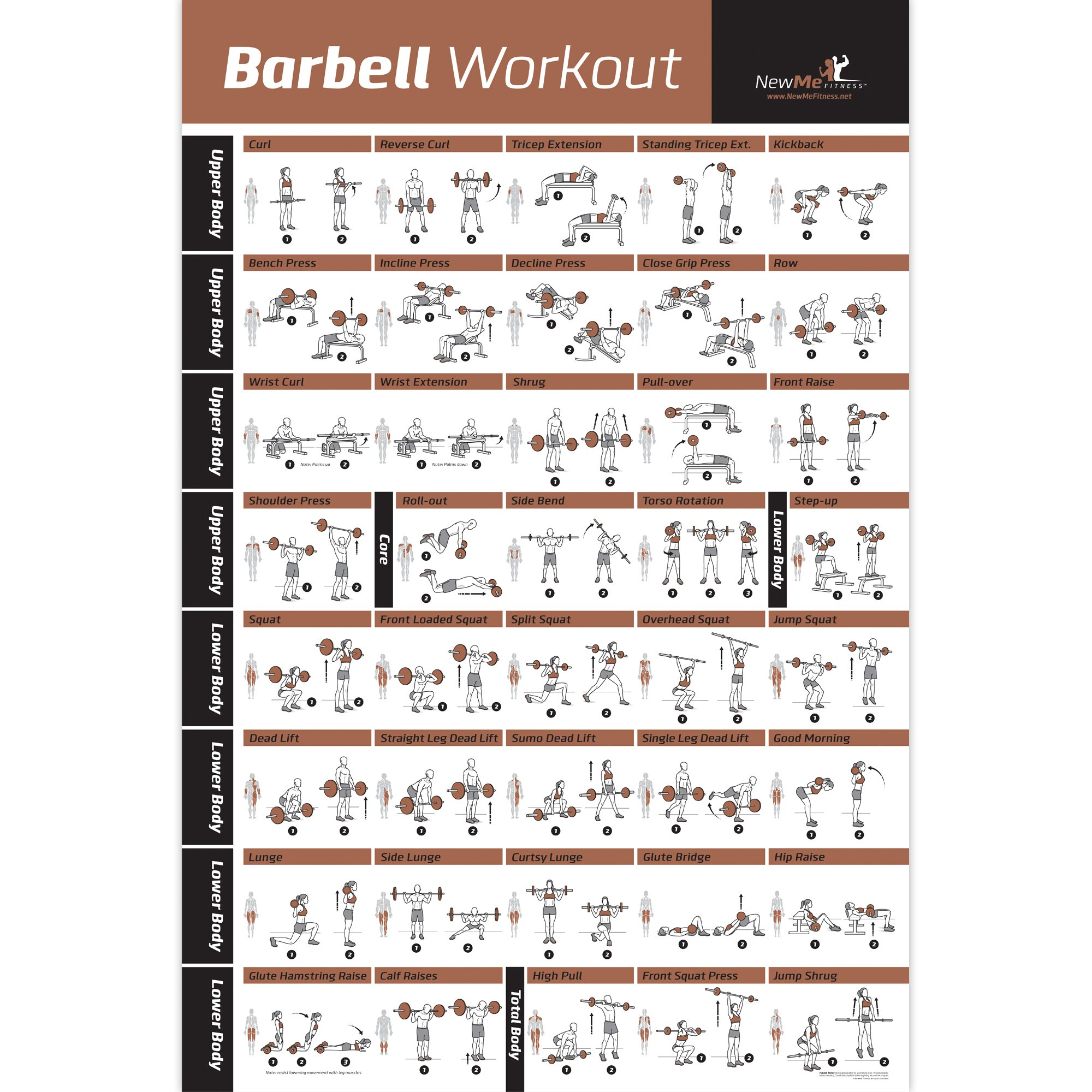 NewMe Fitness Barbell Workout Exercise Poster Laminated – Home Gym Weight Lifting Chart – Build Muscle Tone & Tighten…